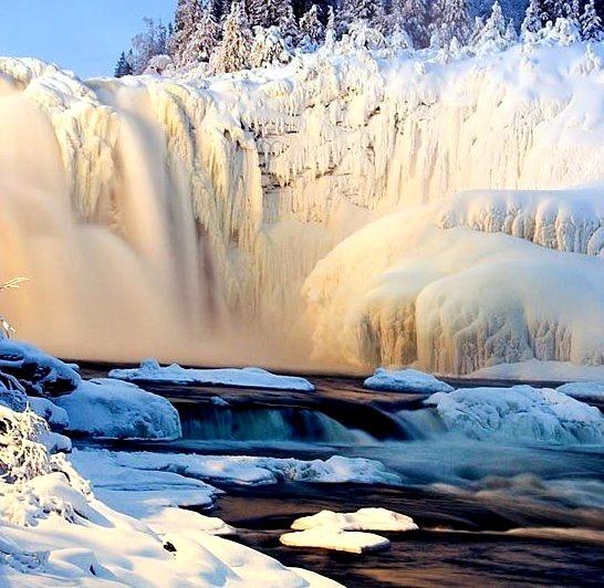 Nearly Frozen Waterfall, Sweden