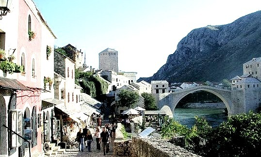 Streets in the old city of Mostar, Bosnia