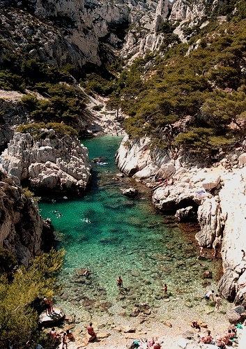 Rocky beach at Calanque de Sugiton near Marseille, France