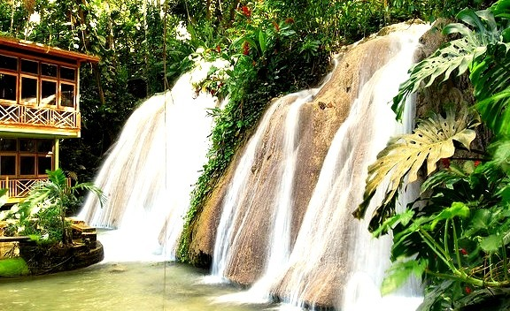 Restaurant overlooking waterfalls, Ocho Rios, Jamaica