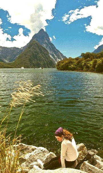 Relaxing spot in Milford Sound, New Zealand