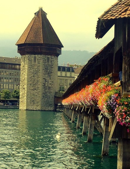 Kapellbrucke timber bridge in Lucerne, Switzerland