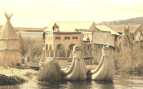 Uros traditional village on Lake Titicaca near the city of Puno, Peru