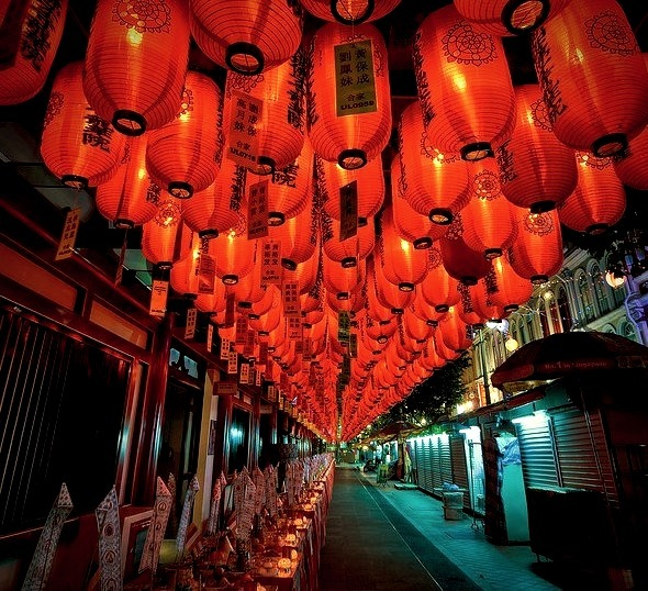 Red lanterns in Chinatown, Singapore