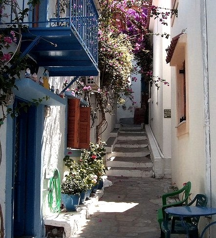 Narrow streets of Skiathos, Sporades Islands, Greece
