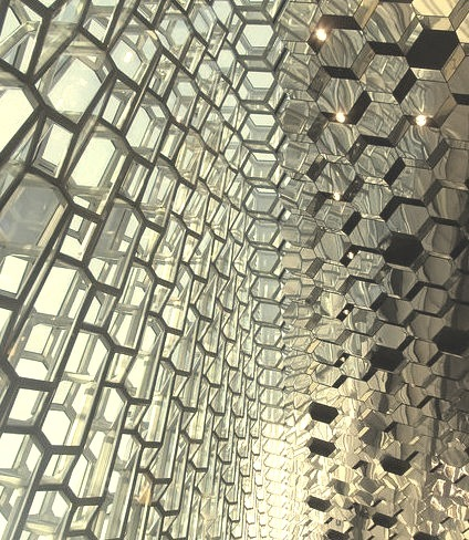The amazing glass patterns at Harpa Concert Hall in Reykjavik, Iceland