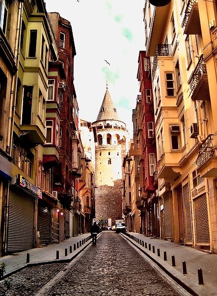 Street to Galata Tower in Istanbul, Turkey