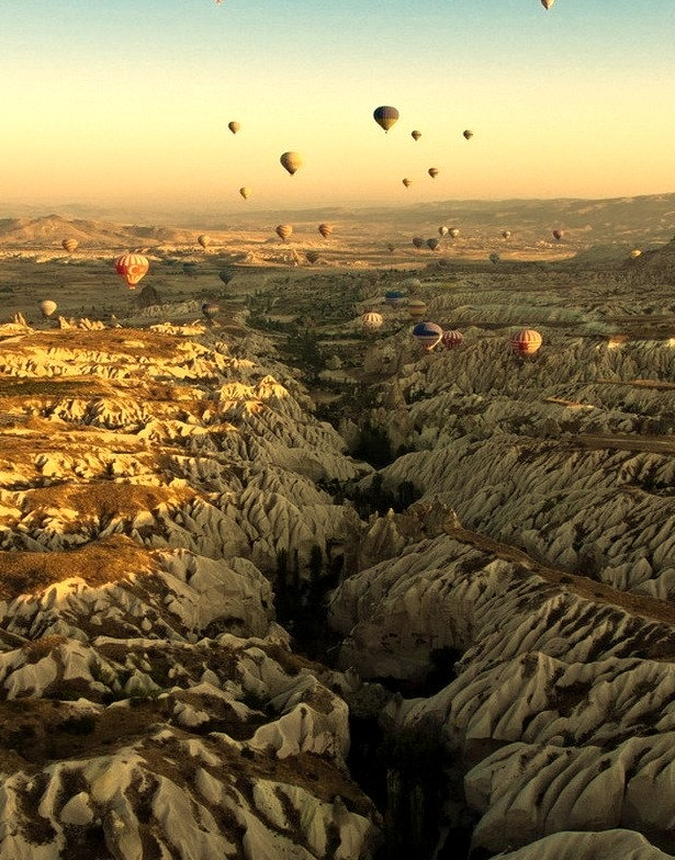 View of the Rose Valley in Cappadocia at sunrise, Turkey