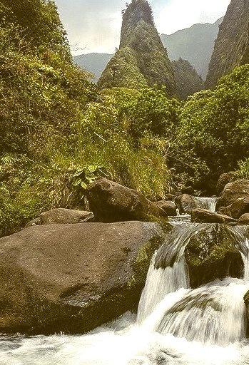 Waterfalls at Iao Needle in Maui Island, Hawaii